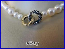 David Yurman White Pearl Mixed Size Sterling Silver & 18K Gold Necklace 16