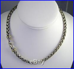 Estate Thick David Yurman 14k Gold Sterling Silver 56 Gram Wheat Chain Necklace
