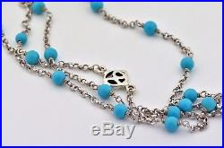 Long David Yurman Sterling Silver Turquoise Bead Necklace 60 Inches Long