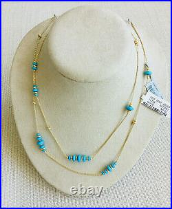 NEW with Tags DAVID YURMAN 18K GOLD/TURQUOISE Necklace 36 Chain MSRP 3,000