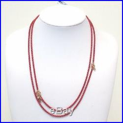 New DAVID YURMAN 41 Coral Acrylic &14K Rose Gold Bel Aire Box Chain Necklace