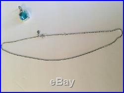 Pre Owned David Yurman 925 Silver 14mm Topaz Albion Pendant Necklace