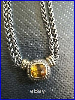 SS/14k gold Stamped David Yurman Double Wheat Chain Citrine Albion Necklace