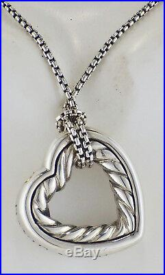 Vintage David Yurman. 925 Cable 1 Open Heart Necklace with 16 Baby Box Chain