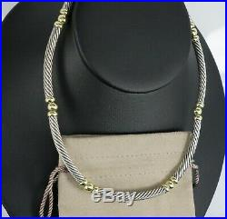 Vintage David Yurman Silver 14K Yellow Gold Ball 5mm Cable Wire Choker Necklace